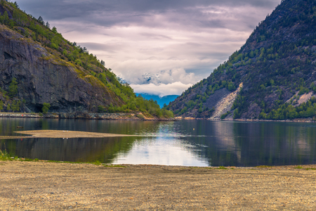 Sogn og Fjordane, Norway - May 14, 2017: Panorama of a fjord in Sogn og Fjordane county, Norway Editorial