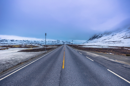Oppland, Norway - May 14, 2017: Frozen roads of the highlands of Oppland, Norway