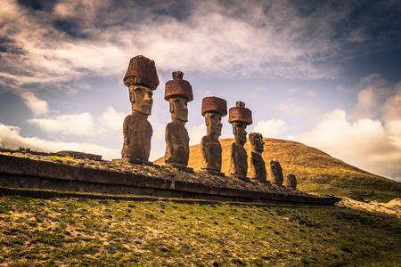 Anakena beach, Easter Island - July 10, 2017: Moai altar of Anakena beach, Easter Island Stock Photo