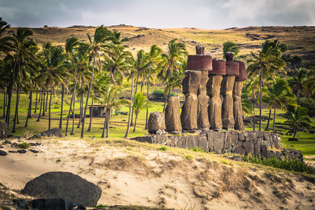 Anakena beach, Easter Island - July 10, 2017: Moai altar of Anakena beach, Easter Island Stock Photo