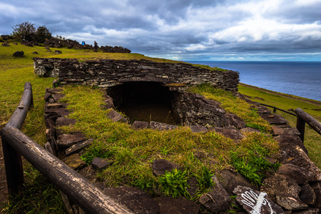 Orongo, Easter Island - July 11, 2017: Bird man village of Orongo, Easter Island