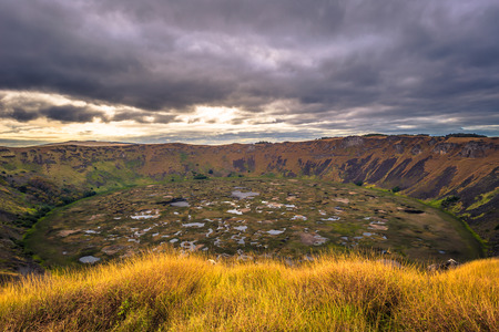 Orongo, Easter Island - July 11, 2017: Ranu Kao volcano crater, Easter Island Stock Photo
