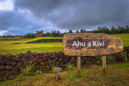 Ahu Akivi, Easter Island - July 11, 2017: Moai altar of Ahu Akivi Stock Photo - 85894150