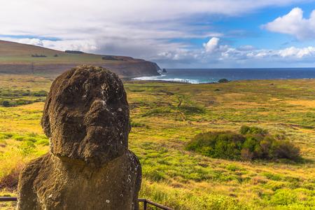 Ranu Raraku, Easter Island - July 10, 2017: Moai statues of Ranu Raraku, Easter Island Stock Photo