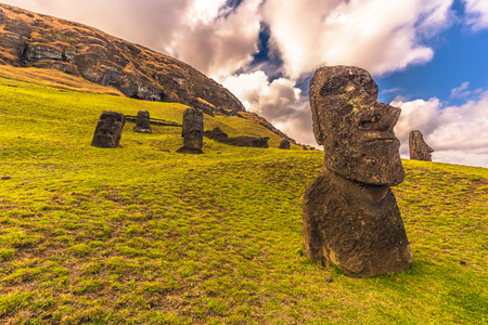 Ranu Raraku, Easter Island - July 10, 2017: Moai statues of Ranu Raraku, Easter Island Stok Fotoğraf