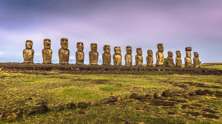 restored: Ahu Tongariki, Easter Island - July 10, 2017: Moai altar of Tongariki, Easter Island Stock Photo