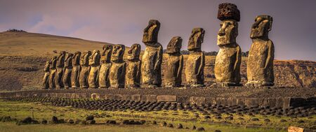 Ahu Tongariki, Easter Island - July 10, 2017: Moai altar of Tongariki, Easter Island Stock Photo
