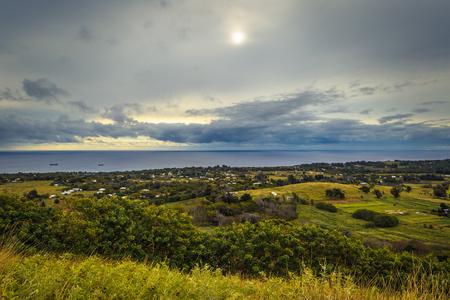 Puna Pau, Easter Island - July 11, 2017: Panorama of Hanga Roa from Puna Pau