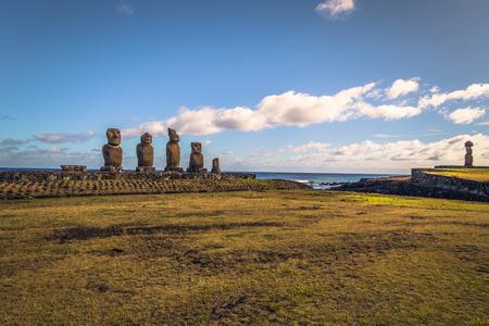 Ahu Tahai, Easter Island - July 12 2017: Sacred Moai altar of Ahu Tahai