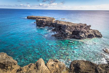 Ana Te Pahu, Easter Island - July 12 2017: Island coast near Ana Te Pahu caves