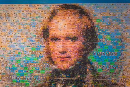 human evolution: Galapagos Islands - August 23, 2017: Portrait of Charles Darwin in Santa Cruz Island, Galapagos Islands, Ecuador Editorial