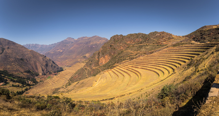Ancient ruins of Pisac in the Sacred Valley, Peru Stock Photo