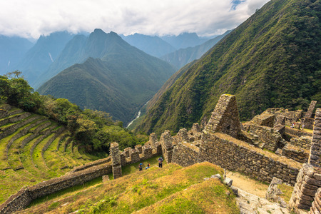 Ancient ruins of Winay Wayna on the Inca Trail, Peru Stok Fotoğraf - 88717199