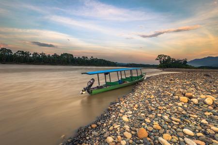 Manu National Park, Peru - August 09, 2017: Madre de Dios river in the Amazon rainforest of Manu National Park, Peru