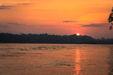 Manu National Park, Peru - August 09, 2017: Sunrise in the Amazon rainforest of Manu National Park, Peru Stock Photo