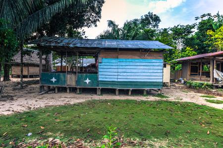 Manu National Park, Peru - August 09, 2017: Diamante village in the Amazon rainforest of Manu National Park, Peru