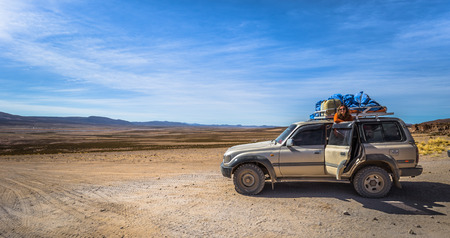 Eduardo Avaroa National Park - July 19, 2017: Tour 4x4 car in Eduardo Avaroa National Park, Bolivia Editorial