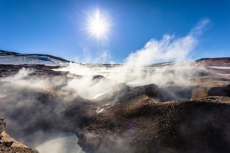 Landscape of the Morning Sun Geysers in Eduardo Avaroa National Park, Bolivia