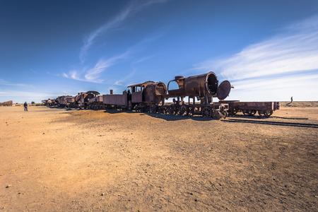 Town Of Uyuni - July 20, 2017: The Great Train Graveyard on the outskirts of Uyuni, Bolivia