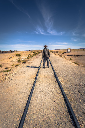 Town Of Uyuni - July 20, 2017: Tourist at the Great Train Graveyard on the outskirts of Uyuni, Bolivia Editorial
