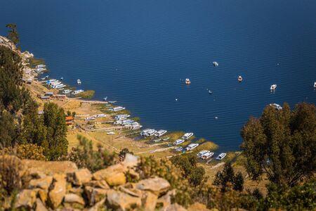 Sun Island - July 28, 2017: Panoramic view of Sun Island in lake Titicaca, Bolivia