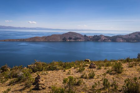 Panoramic view of Sun Island in lake Titicaca, Bolivia Stock Photo