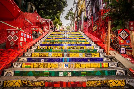 Rio de Janeiro - 21 czerwca 2017 r .: Schody Selaron w historycznym centrum Rio de Janeiro, Brazylia