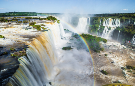 Panorama of the Iguazu Waterfalls in Foz Do Iguazu, Brazil Banco de Imagens