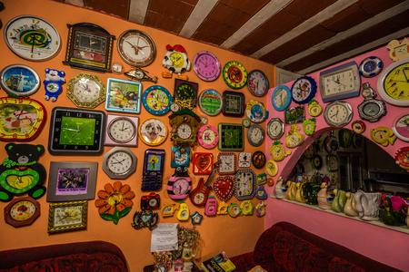 Rio de Janeiro - June 21, 2017: Clock collection in the Favela of Santa Marta in Rio de Janeiro, Brazil