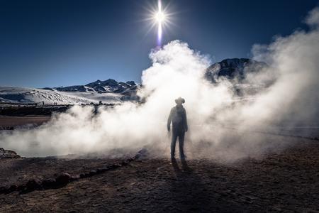 Atacama Desert, Chile - Traveler in the El Tatio geysers in the Atacama Desert, Chile Stock Photo