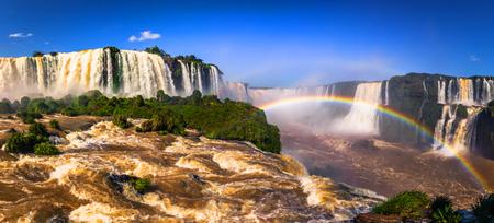 Panorama of the Iguazu Waterfalls in Foz Do Iguazu, Brazil Stock Photo