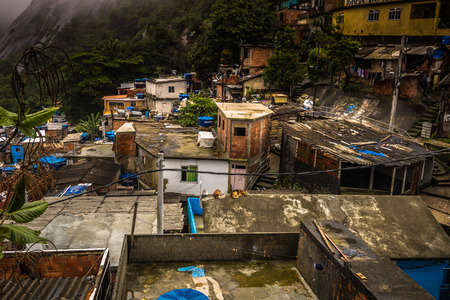 Rio de Janeiro - June 21, 2017: Houses of the Favela of Santa Marta in Rio de Janeiro, Brazil