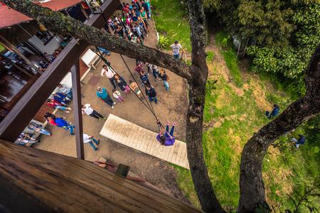 Baños - August 19, 2018: Casa de Arbol swing in Baños, Ecuador Editorial