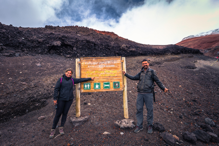 Cotopaxi - August 18, 2018: Refuge at 5000 meters of altitude in Cotopaxi National Park, Ecuador