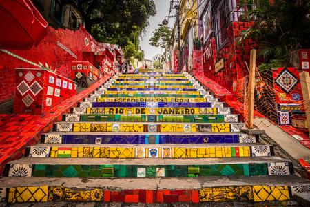 Río de Janeiro - 21 de junio de 2017: los pasos de Selaron en el centro histórico de Río de Janeiro, Brasil