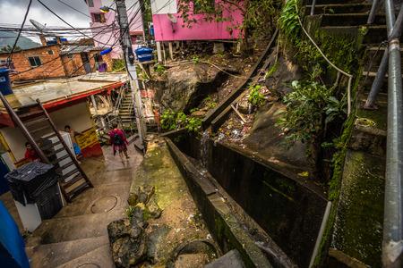 Rio de Janeiro - June 21, 2017: Streets of the Favela of Santa Marta in Rio de Janeiro, Brazil Editorial