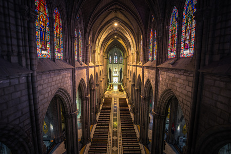 Quito - August 17, 2018: Inside the main nave of the Basilica of the National Vote in Quito, Ecuador Editorial
