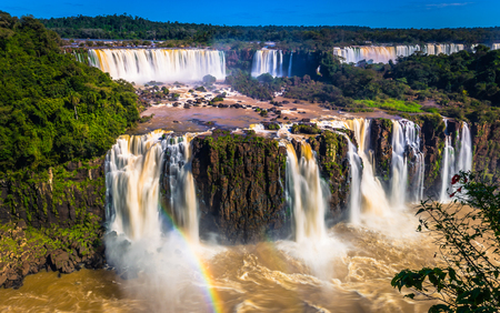 Foz Do Iguazu - June 23, 2017: Panorama of the Iguazu Waterfalls in Foz Do Iguazu, Brazil