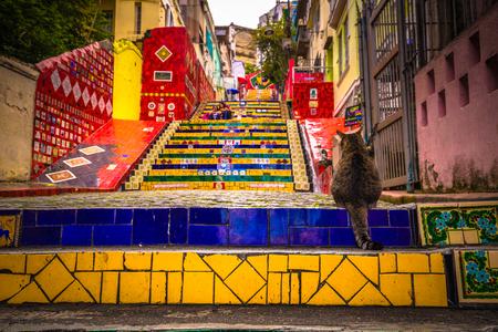 Rio de Janeiro - June 21, 2017: The Selaron Steps in the historic center of Rio de Janeiro, Brazil
