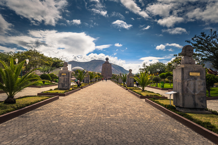Mitad del Mondo - August 21, 2018: Middle of the World monument in Mitad del Mondo, Ecuador Stock Photo