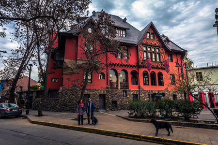 Chile - July 08, 2017: Traditional house in Santiago de Chile