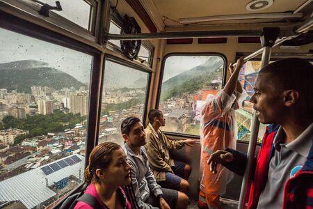 Rio de Janeiro - June 21, 2017: Cable car in the Favela of Santa Marta in Rio de Janeiro, Brazil