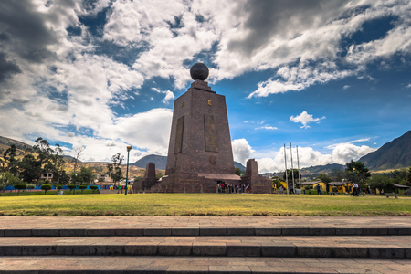 Mitad del Mondo - August 21, 2018: Middle of the World monument in Mitad del Mondo, Ecuador Editorial