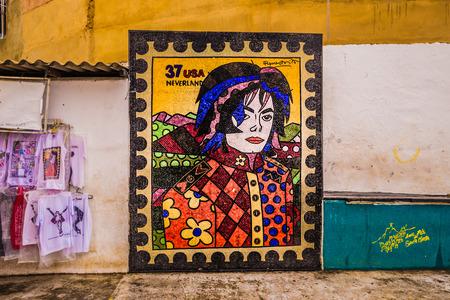 Rio de Janeiro - June 21, 2017: Michael Jackson art in the favela of Santa Marta in Rio de Janeiro, Brazil Editorial