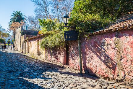 Colonia Del Sacramento - July 02, 2017: Streets of the old town of Colonia Del Sacramento, Uruguay Imagens - 97672009