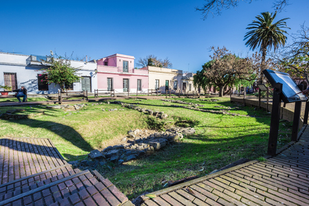 Colonia Del Sacramento - July 02, 2017: Streets of the old town of Colonia Del Sacramento, Uruguay Imagens - 97672017