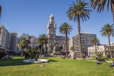 Montevideo - July 02, 2017: Palacio Salvo in the center of the city of Montevideo, Uruguay Editorial