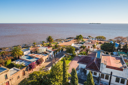 Colonia Del Sacramento - July 02, 2017: Panoramic view of Colonia Del Sacramento, Uruguay Imagens - 97738718