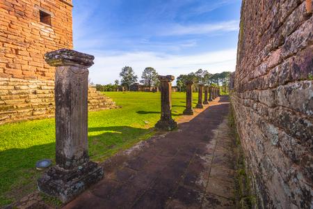 Mission of La Santissima Trinidad - June 26, 2017: Ancient Jesuit ruins of the Mission of La Santissima Trinidad, Paraguay Stock Photo