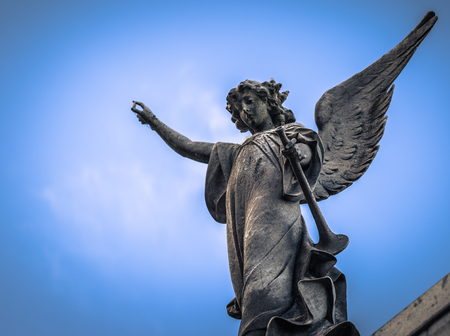 Buenos Aires - July 01, 2017: Religious statue at the Recoleta cemetery in Buenos Aires, Argentina